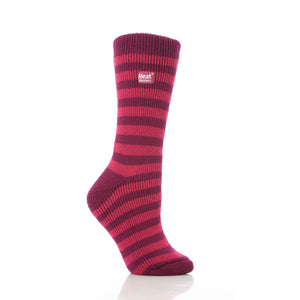 Grabber Heat Holders Ladies Striped Crew Socks - Edward Coy