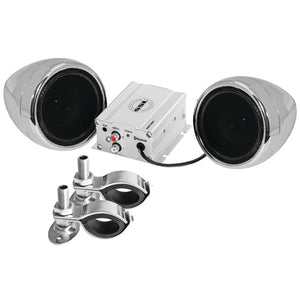 "Motorcycle 600-Watt Amplified Sound System with 3"" Chrome Full-Range Speakers & Bluetooth - Edward Coy"