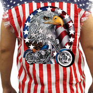Men's Red White & Bold Sleeveless Denim Shirt - Edward Coy