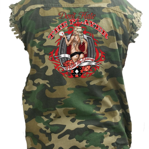 Men's Camo Don't Hate The Player, Hate The Game Sleeveless Denim Shirt