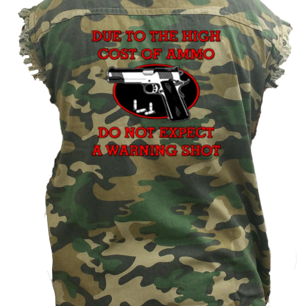 Men's Camo Do Not Expect A Warning Sleeveless Denim Shirt - Edward Coy