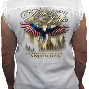 Men's WHITE American Pride Sleeveless Denim Shirt - Edward Coy