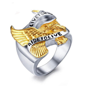 "Men's ""Live to Ride"" Eagle Ring - Edward Coy"