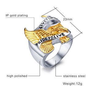 "Men's ""Live to Ride"" Eagle Ring"