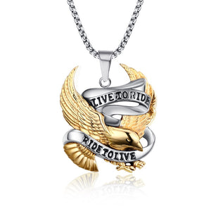 "Men's ""Live to Ride"" Eagle Pendant Chain Necklace and Ring - Edward Coy"