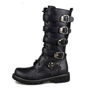 Tangnest Men's Combat Metal Buckle Boots