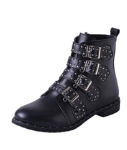 Woman's Black Belt Buckle Boots - Edward Coy