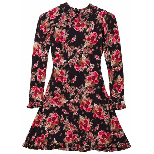 Printed Collar Dress Rose Tapestry