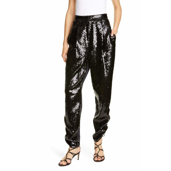 Sequin Ruched Hem Trousers
