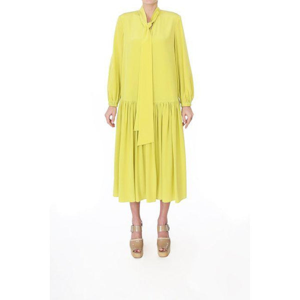 Heavy Silk Drop Waist Dress Lime Yellow