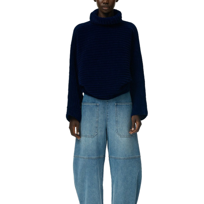Blouson Cropped Pullover Rich Blue