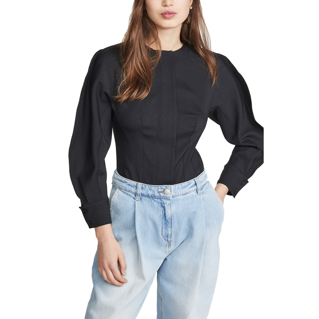 Chalky Drape Origami Sleeve Corset Top Black