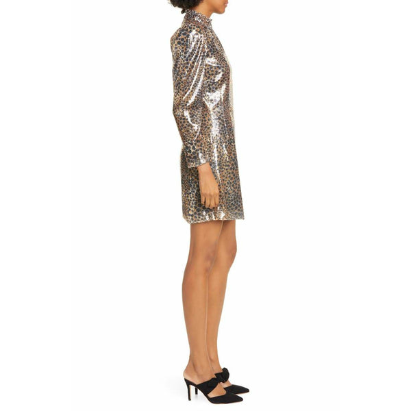 Leo Sequin Print Mini Dress