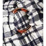 Chloe Ring-Puckered Madras Navy & White