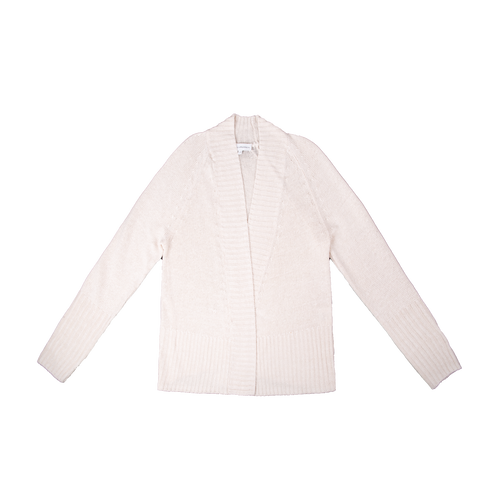 Rib Placket Open Cardigan Cream