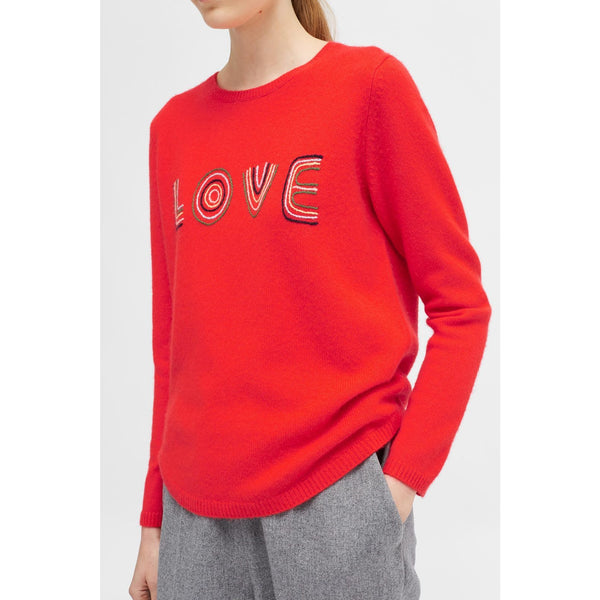 Embroidered Love Sweater Flame