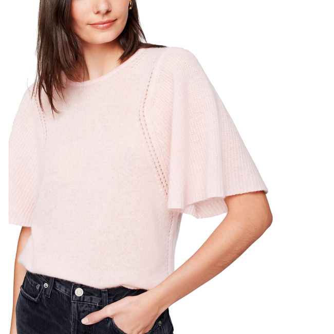 Flutter Sleeve Crewneck Sweater Primrose Heather