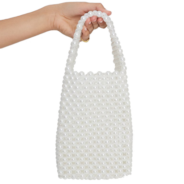 Frederikke Beaded Bag - White Pearl