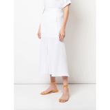 Viscose Plisse Front Slit Flared Skirt White