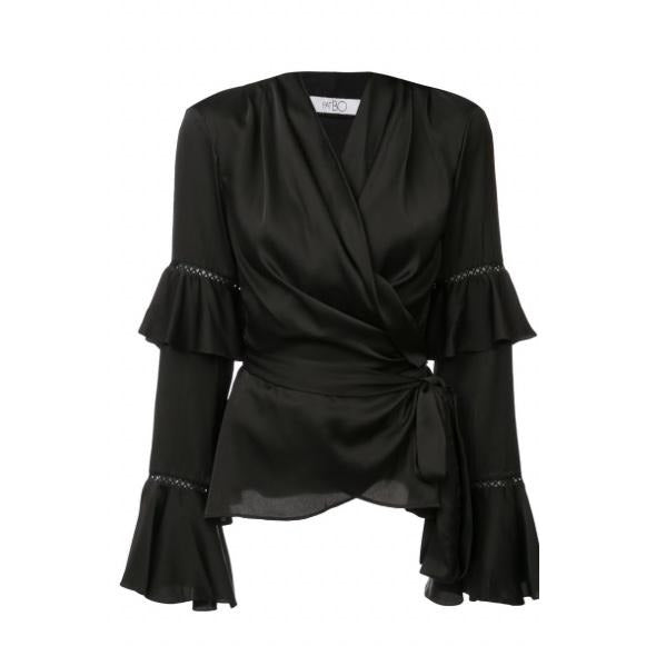 Ruffle Sleeve Wrap Blouse