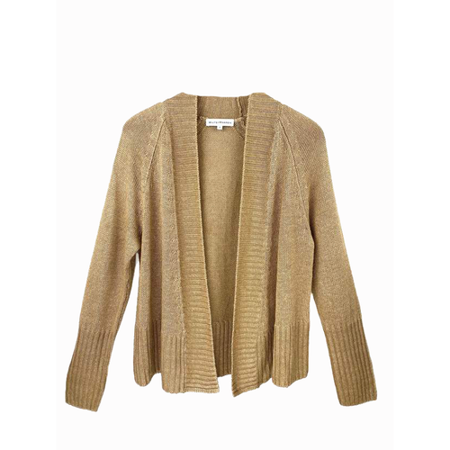 Rib Placket Open Cardigan Brushed Gold Heather