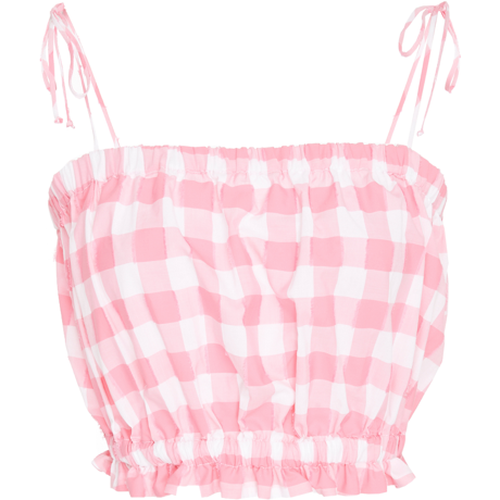 Cropped Cami Hot Pink Check