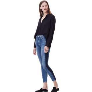 Rocket Crop High Rise Skinny Jean Shadow Stripe