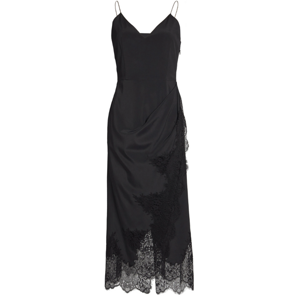 Asymmetric Lace-Trimmed Silk-Blend Midi Dress