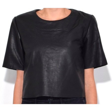 Leather Crop Tee