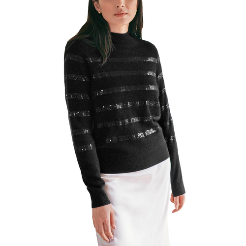 Sequin Stripe Funnel Neck Black