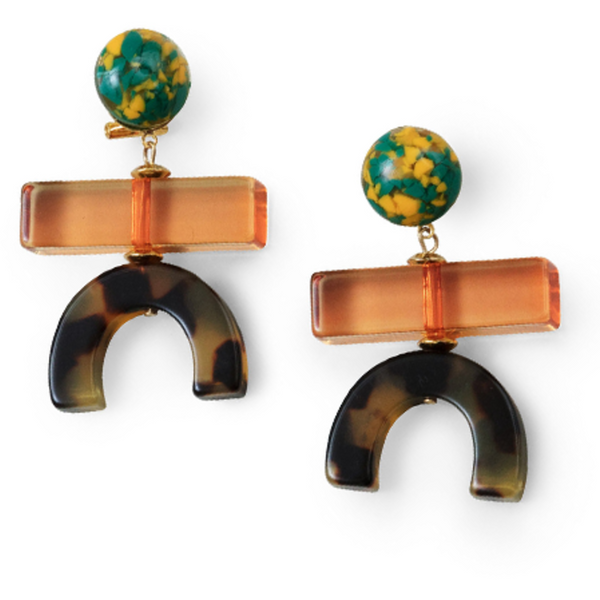Stroller Earring Orange Tortoise