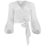 Teri Puff Sleeve Wrap Blouse
