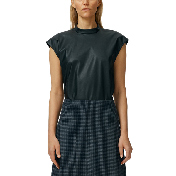 Tissue Faux Leather Mock Neck Sleeveless Top Black