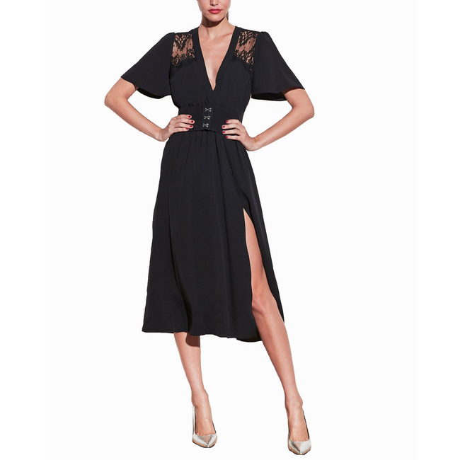 V-Neck Gathered Dress Black
