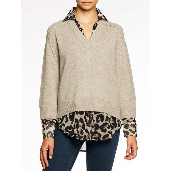 V-Neck Layered Pullover Light Chia Printed