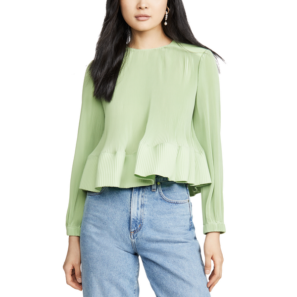 Pleating Long Sleeve Yolk Pleated Top Mint