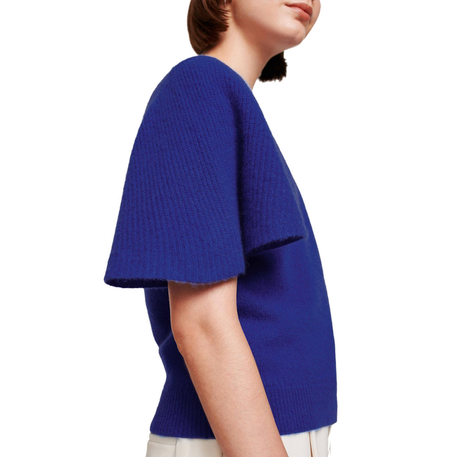 Flutter Sleeve Crewneck Sweater Casa Blue