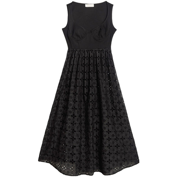 Broderie Bodysuit Dress Black