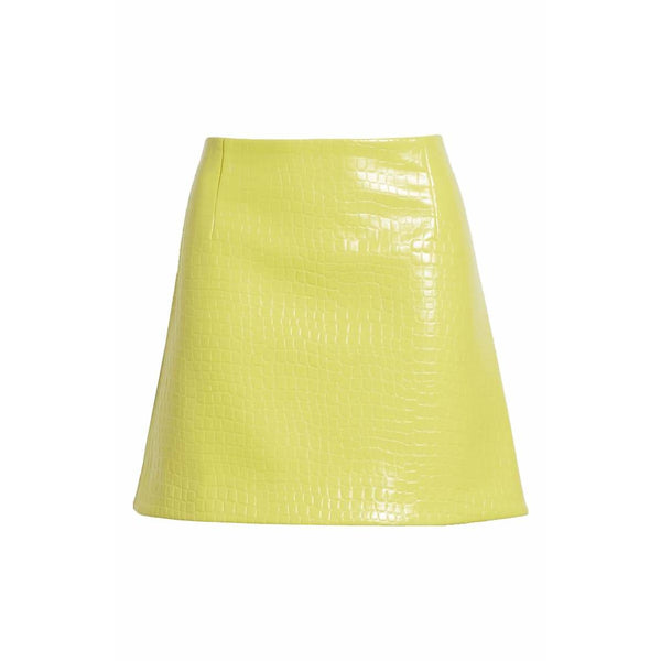 Croc Embossed Patent Mini Skirt Yellow