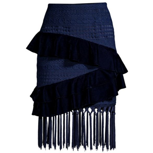 Velvet and Crochet Fringe Mini Skirt