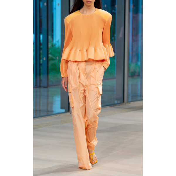 Pleating Long Sleeve Yolk Pleated Top Melon