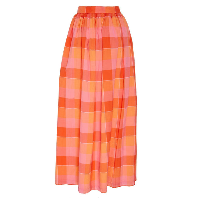 Button Front Skirt Orange Plaid
