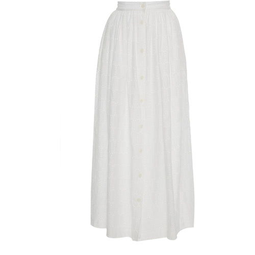 Button Front Skirt Oval Eyelet