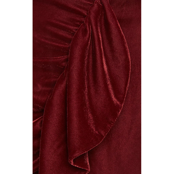 Velvet Ruffle Mini Skirt Port