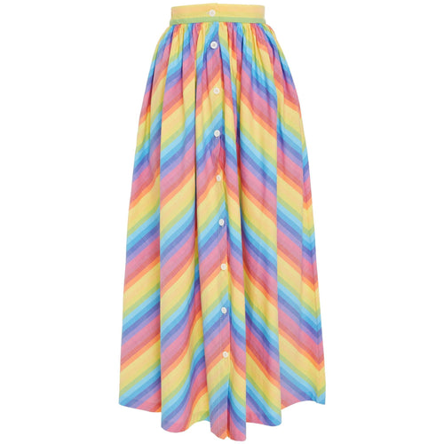 Button Front Skirt Multi Stripe