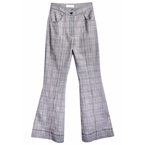 V-Waist Flare Pant with Top Stitch Plaid Check