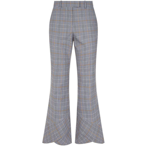 Flare Hem Plaid Trouser