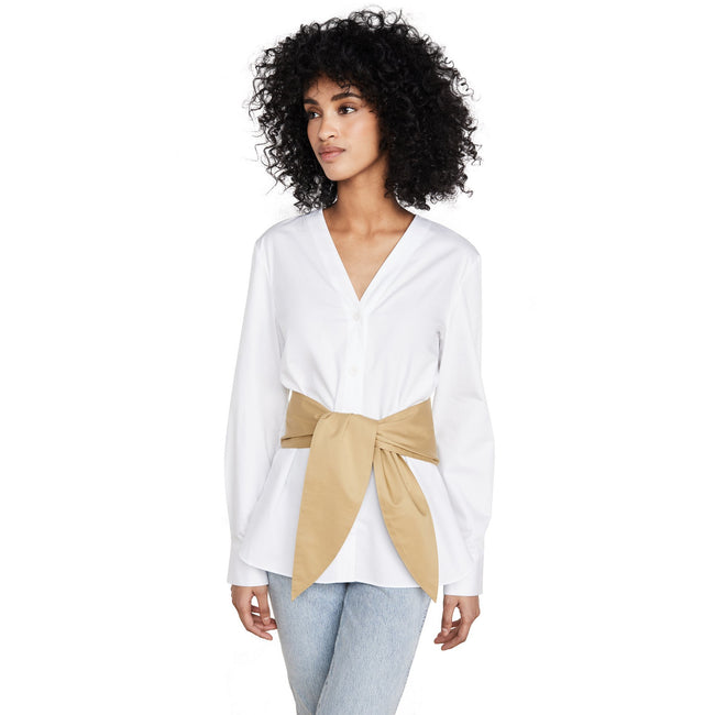 Satin Poplin V-Neck Shirt