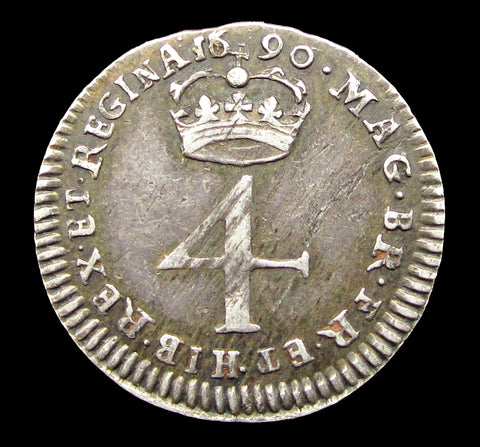 William & Mary 1690 Fourpence - 6 over 5 - GVF