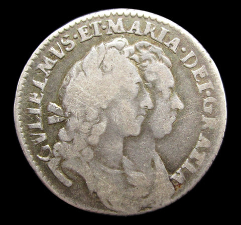 William & Mary 1693 Sixpence - Fine